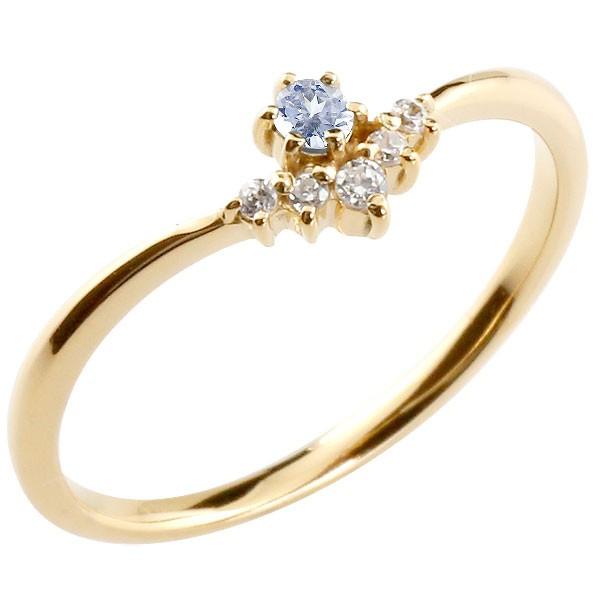 リング タンザナイト ダイヤモンド イエローゴールドk10 ピンキーリング 指輪 華奢リング 重ね付け 10金 レディース 12月誕生石 V字