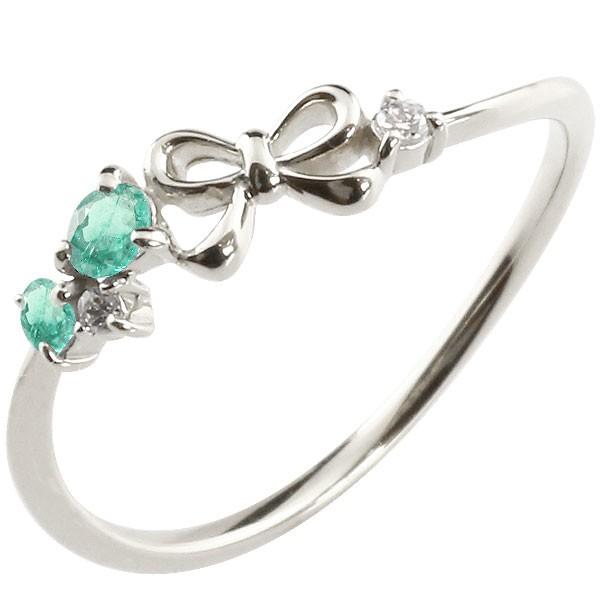 リボン シルバーリング エメラルド ダイヤモンド ピンキーリング 指輪 華奢リング 重ね付け sv レディース 5月誕生石 宝石