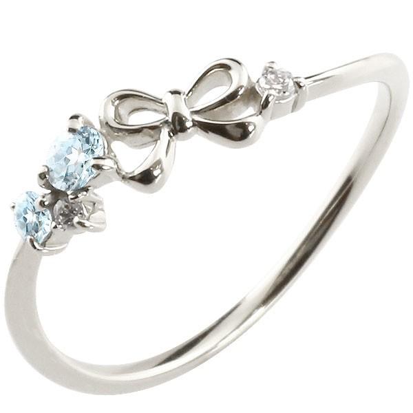 リボン シルバーリング ブルートパーズ ダイヤモンド ピンキーリング 指輪 華奢リング 重ね付け sv レディース 11月誕生石 宝石