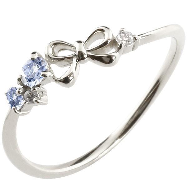 リボン リング タンザナイト ダイヤモンド ホワイトゴールドk18 ピンキーリング 指輪 華奢リング 重ね付け 18金 レディース 12月誕生石 宝石
