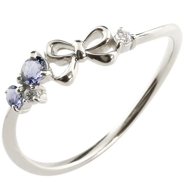 リボン プラチナリング アイオライト ダイヤモンド ピンキーリング 指輪 華奢リング 重ね付け pt900 レディース 宝石 妻 嫁 奥さん 女性 彼女 娘 母 祖母 パートナー 送料無料