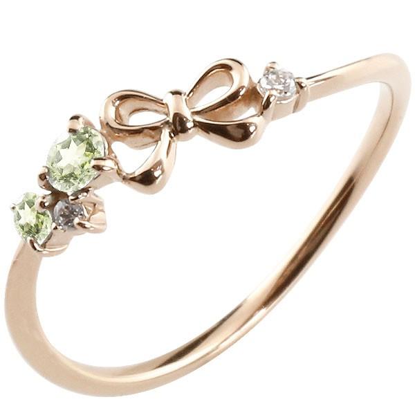 リボン リング ペリドット ダイヤモンド ピンクゴールドk18 ピンキーリング 指輪 華奢リング 重ね付け 18金 レディース 8月誕生石 宝石