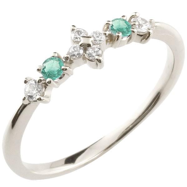 フラワー 花 プラチナリング エメラルド ダイヤモンド ピンキーリング 指輪 華奢リング 重ね付け pt900 レディース 5月誕生石 宝石