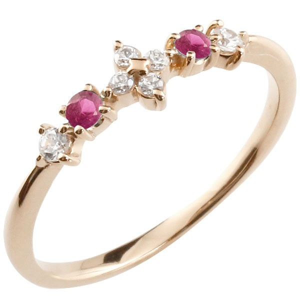 フラワー 花 リング ルビー ダイヤモンド ピンクゴールドk18 ピンキーリング 指輪 華奢リング 重ね付け 18金 レディース 7月誕生石 宝石