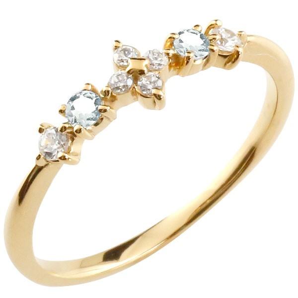 フラワー 花 リング アクアマリン ダイヤモンド イエローゴールドk10 ピンキーリング 指輪 華奢リング 重ね付け 10金 レディース 3月誕生石 宝石