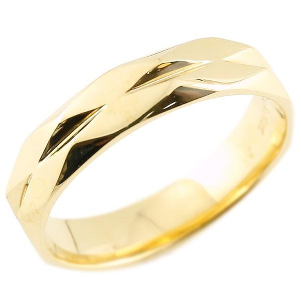 指輪 イエローゴールドk18 ダイヤ柄 リング 指輪 婚約指輪 カットリング 菱形 地金 18金