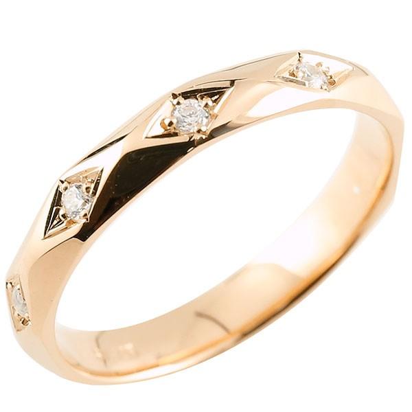 ピンキーリング ダイヤモンド ピンクゴールドk10 ダイヤリング 指輪 婚約指輪 カットリング 菱形 10金 宝石 妻 嫁 奥さん 女性 彼女 娘 母 祖母 パートナー