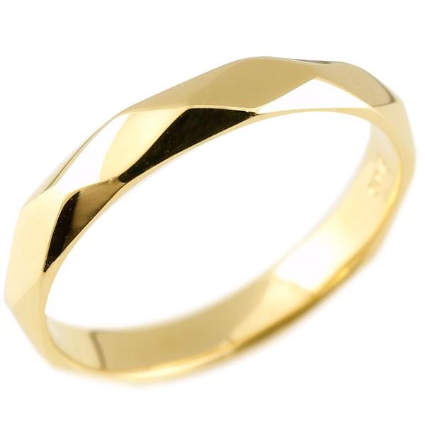 ピンキーリング イエローゴールドk18 ダイヤ柄 リング 指輪 婚約指輪 カットリング 菱形 地金 18金 妻 嫁 奥さん 女性 彼女 娘 母 祖母 パートナー