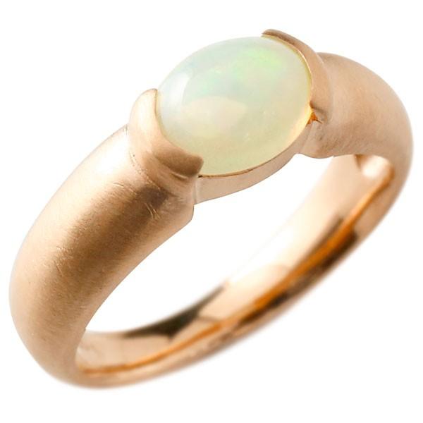 【送料無料】新作 ピンクゴールドk18 大粒 一粒 オパール リング ピンキーリング 18金 指輪 婚約指輪 エンゲージリング ファッション