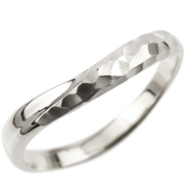 プラチナ ピンキーリング 指輪 リング 婚約指輪 エンゲージリング 槌目 槌打ち ロック仕上げ pt900 地金 緩やかなV字 妻 嫁 奥さん 女性 彼女 娘 母 祖母 パートナー