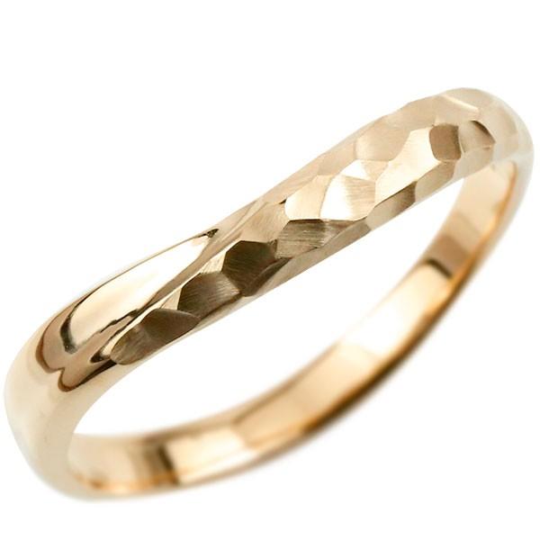 ピンキーリング 指輪 リング ピンクゴールドk18 婚約指輪 エンゲージリング 槌目 槌打ち 18金 k18 ロック仕上げ 地金 緩やかなV字 妻 嫁 奥さん 女性 彼女 娘 母 祖母 パートナー