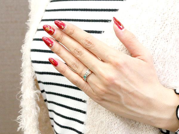 ハワイアンジュエリー 婚約指輪 プラチナ エメラルド エンゲージリング ピンキーリング リング 指輪 一粒 ピンクゴールドk10Y7yb6fg