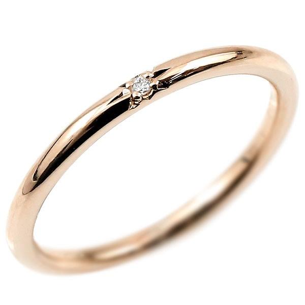 ピンキーリング ダイヤモンド ピンクゴールドk18 18金 極細 華奢 ダイヤ 一粒 指輪 婚約指輪 エンゲージリング ダイヤリング 妻 嫁 奥さん 女性 彼女 娘 母 祖母 パートナー