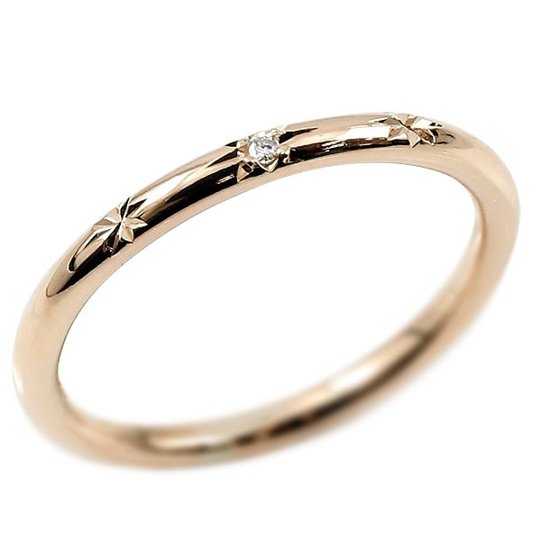ピンキーリング ダイヤモンド ピンクゴールドk18 18金 極細 華奢 ダイヤ 一粒 指輪 婚約指輪 エンゲージリング ダイヤリング