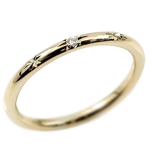 ピンキーリング ダイヤモンド イエローゴールドk10 10金 極細 華奢 ダイヤ 一粒 指輪 婚約指輪 エンゲージリング ダイヤリング