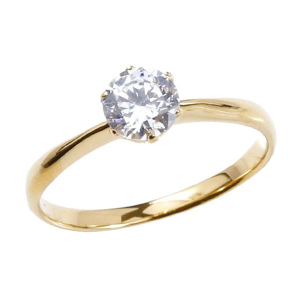 鑑定書付き VSクラス エンゲージリング イエローゴールドk18 18k ダイヤモンド ピンキーリング 大粒 一粒 指輪 婚約指輪 18金 リング ストレート 送料無料