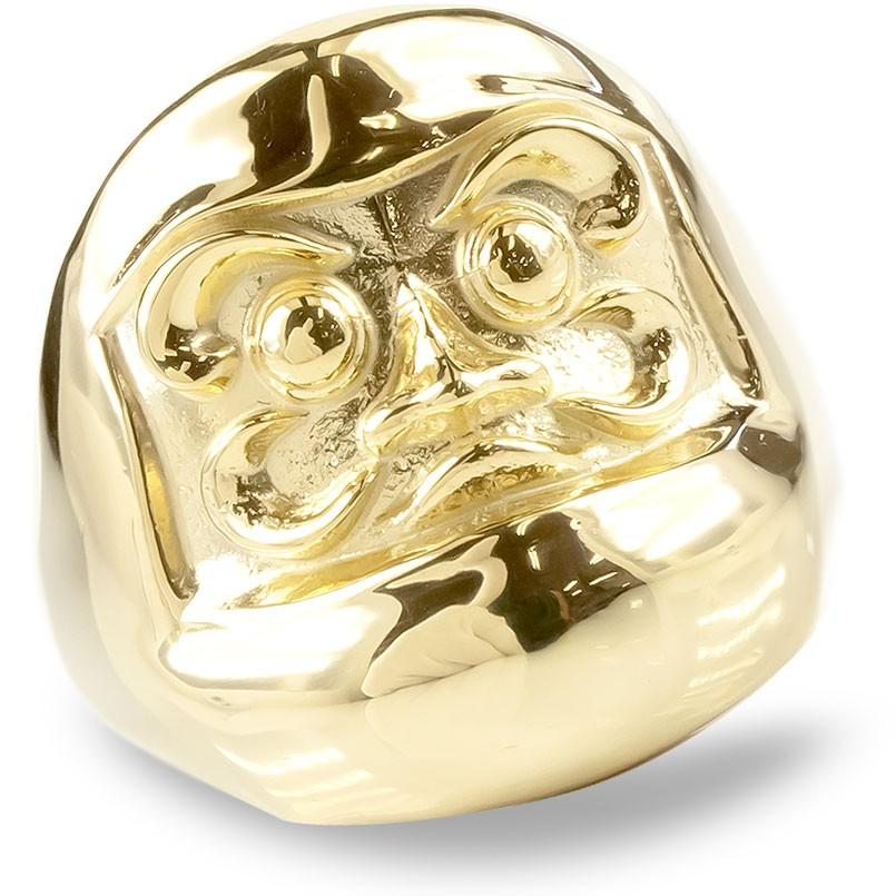 婚約指輪 安い 18金 リング レディース だるま 指輪 ゴールド 18K イエローゴールドk18 幅広 ピンキーリング 地金 ダルマ 達磨 お守り アミュレット 送料無料