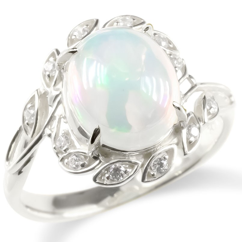 ゴールド リング エチオピアオパール キュービックジルコニア レディース 指輪 ホワイトゴールドk10 婚約指輪 安い エンゲージリング ピンキーリング 送料無料