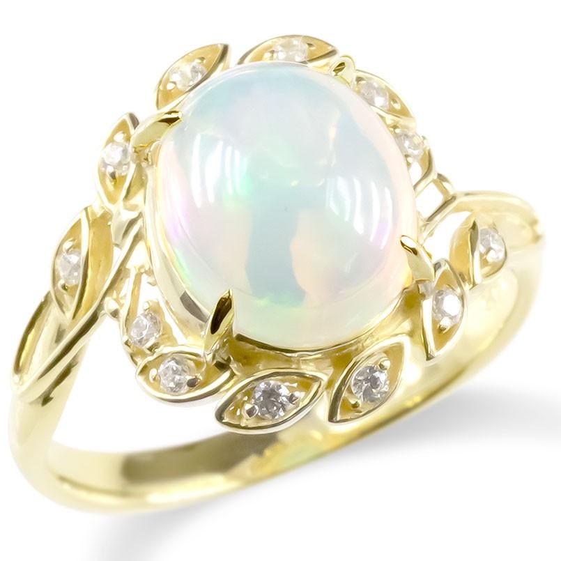 婚約指輪 安い ゴールド リング エチオピアオパール キュービックジルコニア レディース 指輪 イエローゴールドk10 エンゲージリング ピンキーリング 送料無料