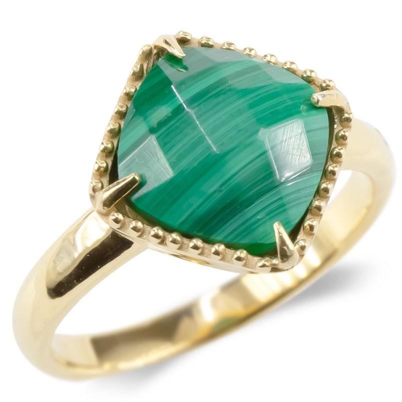 婚約指輪 安い 18金 リング マラカイト レディース 指輪 ゴールド 18k イエローゴールドk18 ミル打ち エンゲージリング ピンキーリング アンティーク 送料無料