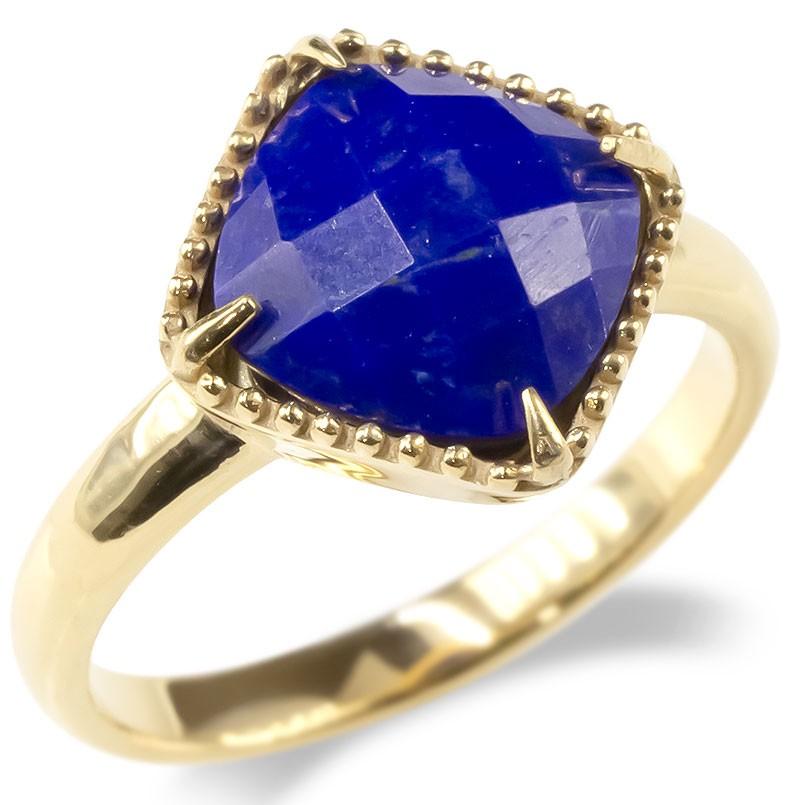 婚約指輪 安い ゴールド リング ラピスラズリ レディース 指輪 10k イエローゴールドk10 ミル打ち エンゲージリング ピンキーリング アンティーク 送料無料