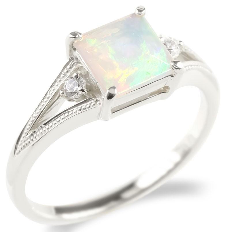 18金 リング エチオピアオパール キュービックジルコニア レディース 指輪 ホワイトゴールドk18 ミル打ち 婚約指輪 安い ピンキーリング 女性 送料無料