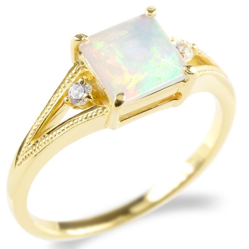 レディース 送料無料 エンゲージリング 婚約指輪 指輪 エチオピアオパール イエローゴールドk18 リング ダイヤモンド 安い 18金 女性 ミル打ち ピンキーリング