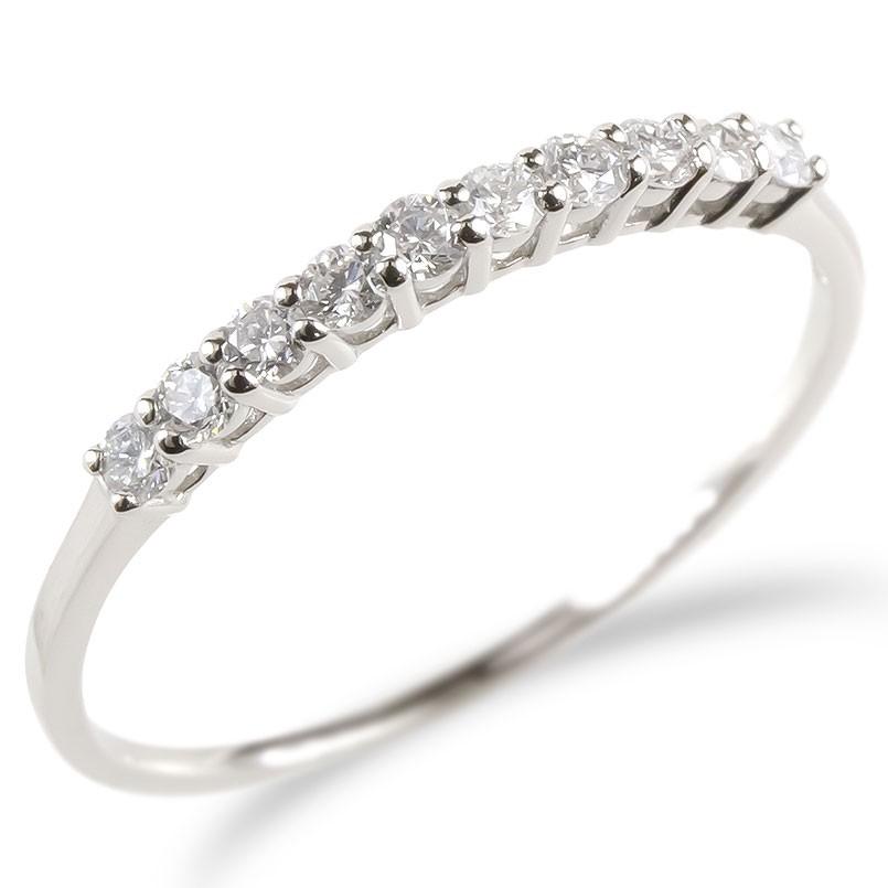 婚約指輪 安い プラチナ リング レディース ダイヤモンド 0.2ct エンゲージリング ダイヤ ハーフエタニティ 指輪 ピンキーリング pt900 宝石 女性 送料無料