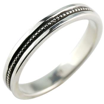 シルバーリング 指輪 地金リング ピンキーリング ミル打ち 燻し加工 宝石なし シンプル レディース ストレート