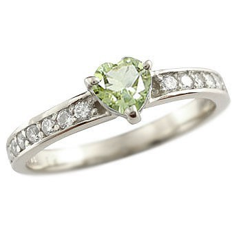 ピンキーリング ダイヤモンド エタニティ ハート ペリドット リング 8月誕生石 ハーフエタニティ ホワイトゴールドk18 指輪 18金 ダイヤ 宝石
