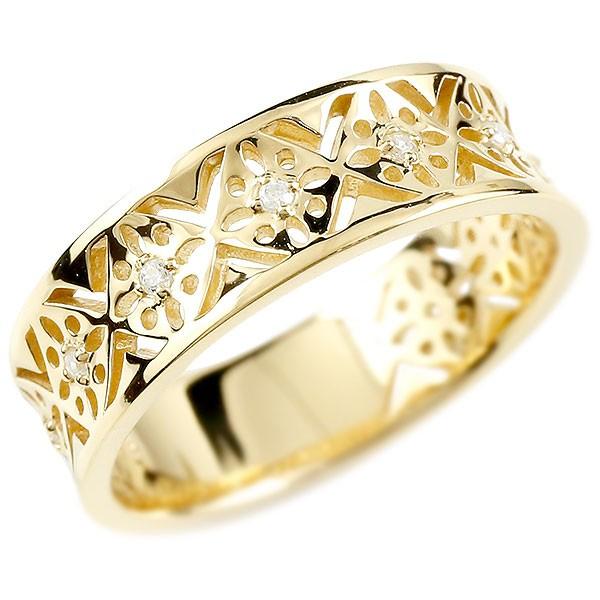 婚約指輪 リング イエローゴールドk18 ダイヤモンド ピンキーリング 幅広 ダイヤ 指輪 透かし エンゲージリング 18金 宝石 レディース 妻 嫁 奥さん 女性 彼女 娘 母 祖母 パートナー