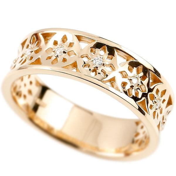 婚約指輪 リング ピンクゴールドk18 ダイヤモンド ピンキーリング 幅広 ダイヤ 指輪 透かし エンゲージリング 18金 宝石 レディース 妻 嫁 奥さん 女性 彼女 娘 母 祖母 パートナー
