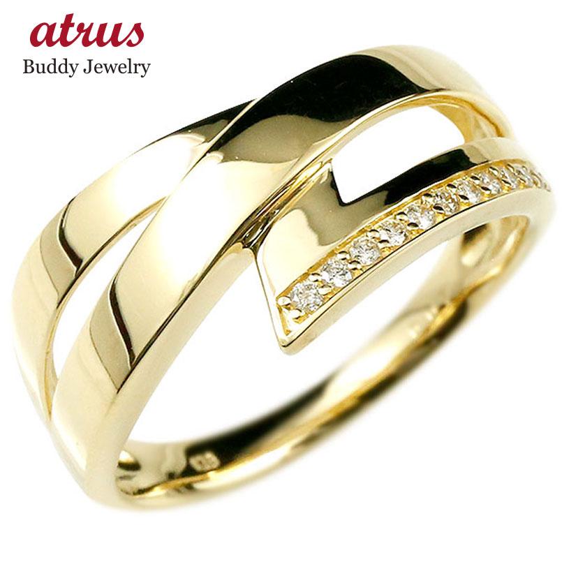 婚約指輪 リング ダイヤモンド イエローゴールドk18 ピンキーリング ダイヤ 指輪 幅広 エンゲージリング 18金 宝石 レディース 妻 嫁 奥さん 女性 彼女 娘 母 祖母 パートナー