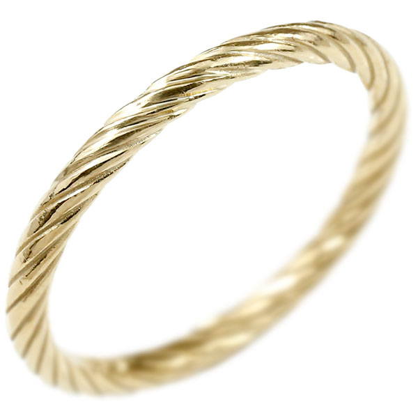 リング イエローゴールドk10 指輪 エンドレスロープ 指輪 10金 ストレート 地金 ピンキーリング 重ね付け リング レディース 妻 嫁 奥さん 女性 彼女 娘 母 祖母 パートナー