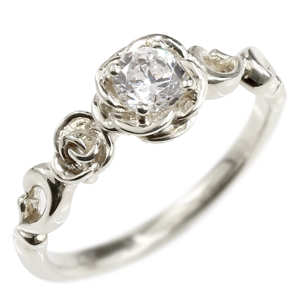 婚約指輪 プラチナリング ダイヤモンド バラ エンゲージリング ダイヤ 一粒 大粒 指輪 ピンキーリング pt900 宝石 レディース 薔薇 妻 嫁 奥さん 女性 彼女 娘 母 祖母 パートナー