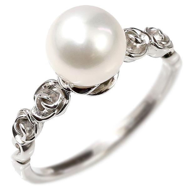 婚約指輪 プラチナリング パール 真珠 バラ エンゲージリング 指輪 ピンキーリング pt900 フォーマル 宝石 レディース 薔薇 妻 嫁 奥さん 女性 彼女 娘 母 祖母 パートナー
