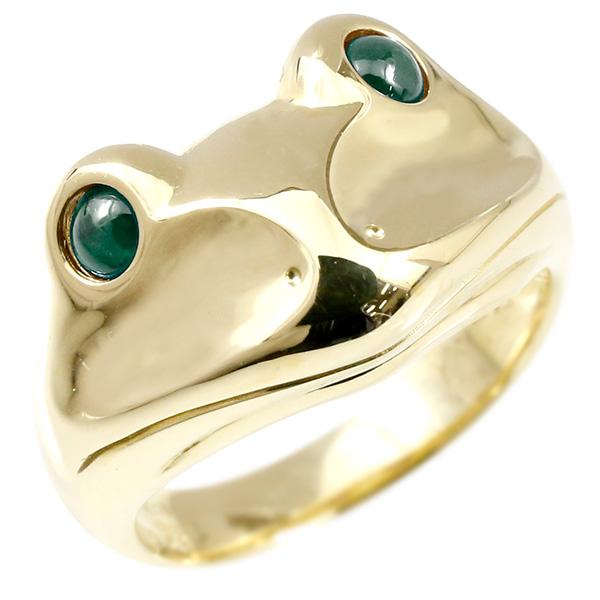 リング エメラルド カエル イエローゴールドk18 エンゲージリング 幅広 指輪 ピンキーリング 婚約指輪 18金 宝石 蛙 レディース 妻 嫁 奥さん 女性 彼女 娘 母 祖母 パートナー