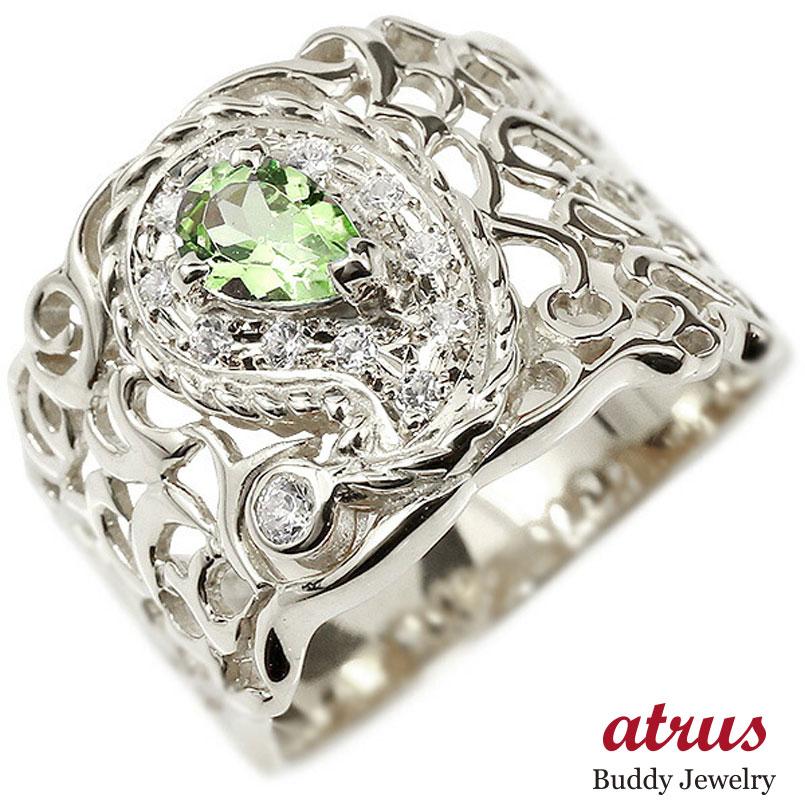 リング ペイズリー ダイヤモンド ペリドット ホワイトゴールドk10 婚約指輪 ピンキーリング ダイヤ 指輪 透かし 幅広 エンゲージリング 10金 レディース 妻 嫁 奥さん 女性 彼女 娘 母 祖母 パートナー