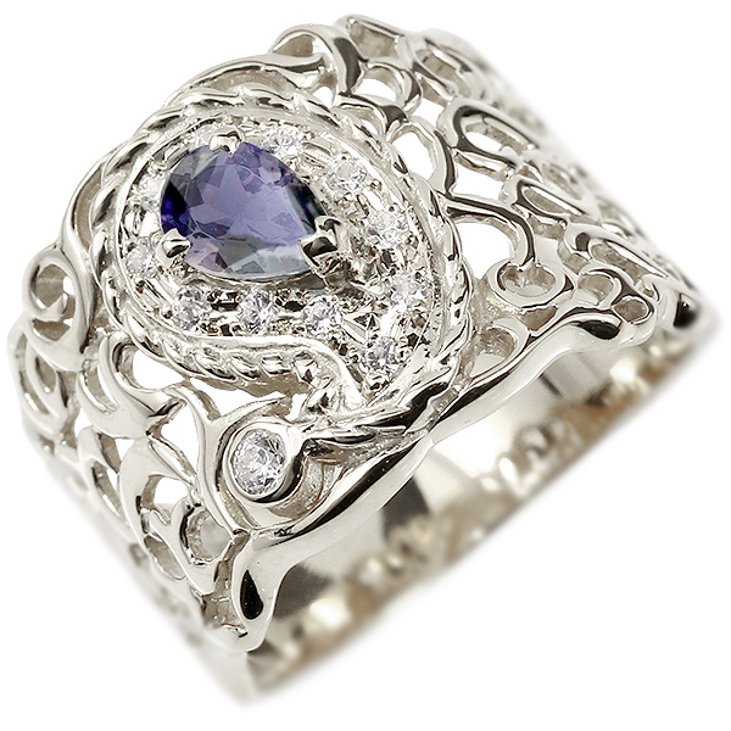 リング ペイズリー ダイヤモンド アイオライト ホワイトゴールドk18 婚約指輪 ピンキーリング ダイヤ 指輪 透かし 幅広 エンゲージリング 18金 レディース 妻 嫁 奥さん 女性 彼女 娘 母 祖母 パートナー