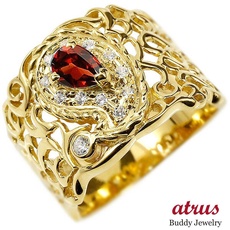 リング ペイズリー ダイヤモンド ガーネット イエローゴールドk10 婚約指輪 ピンキーリング ダイヤ 指輪 透かし 幅広 エンゲージリング 10金 レディース 妻 嫁 奥さん 女性 彼女 娘 母 祖母 パートナー