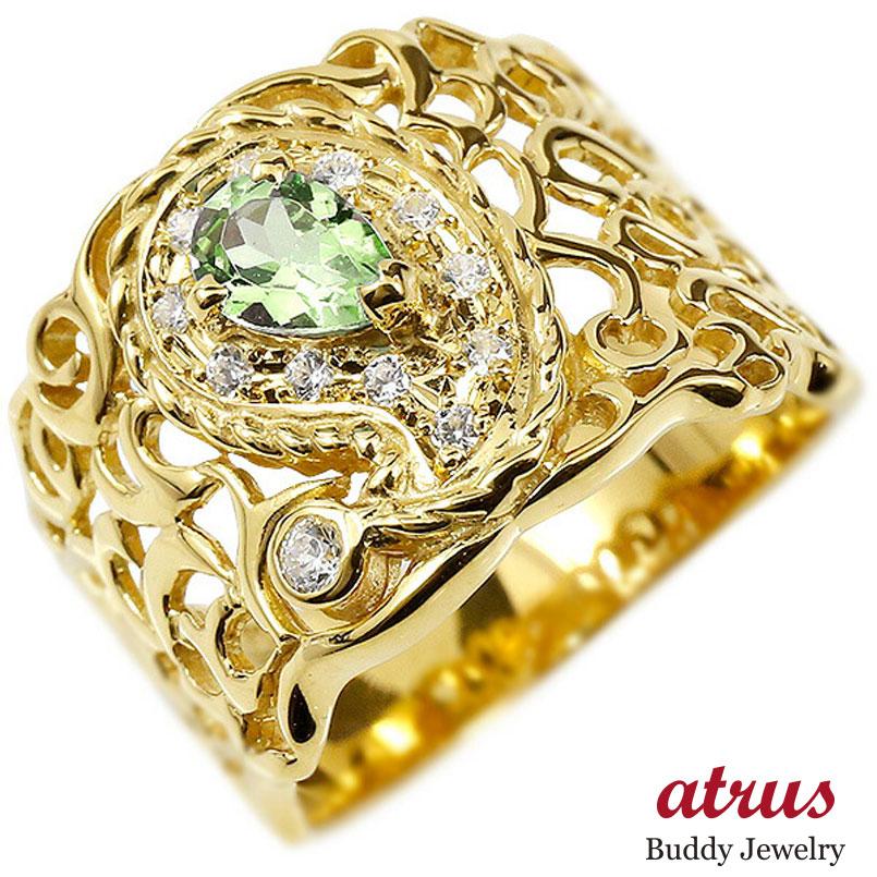 リング ペイズリー ダイヤモンド ペリドット イエローゴールドk10 婚約指輪 ピンキーリング ダイヤ 指輪 透かし 幅広 エンゲージリング 10金 レディース 妻 嫁 奥さん 女性 彼女 娘 母 祖母 パートナー