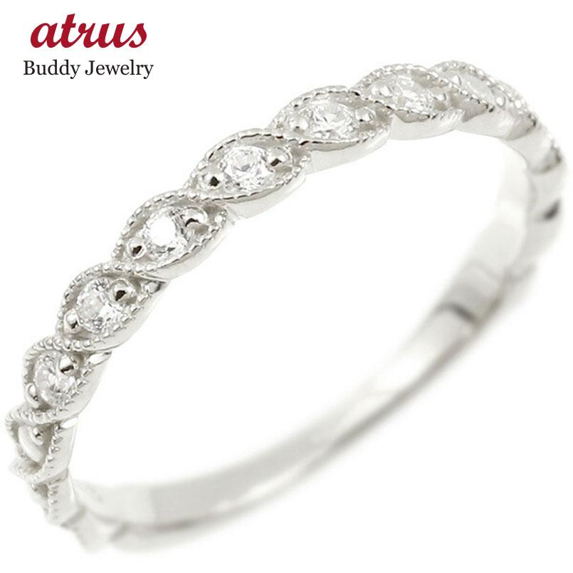 婚約指輪 リング ホワイトゴールドk18 ダイヤモンド エンゲージリング 指輪 ミル打ち ピンキーリング 18金 宝石 レディース 母の日
