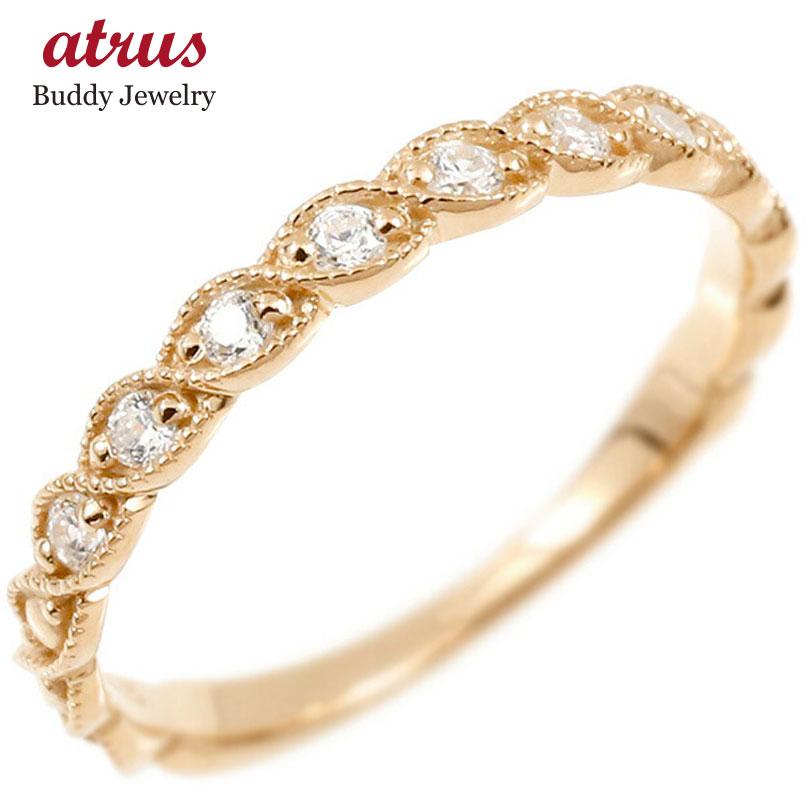 婚約指輪 リング ピンクゴールドk18 ダイヤモンド エンゲージリング 指輪 ミル打ち ピンキーリング 18金 宝石 レディース 妻 嫁 奥さん 女性 彼女 娘 母 祖母 パートナー