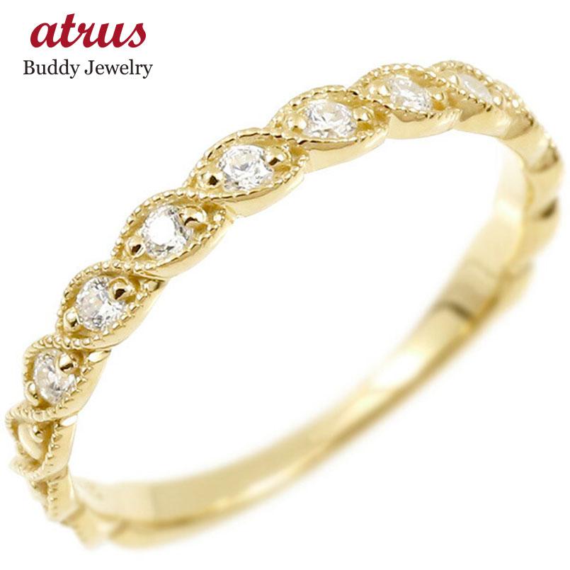 婚約指輪 リング イエローゴールドk18 ダイヤモンド エンゲージリング 指輪 ミル打ち ピンキーリング 18金 宝石 レディース 妻 嫁 奥さん 女性 彼女 娘 母 祖母 パートナー