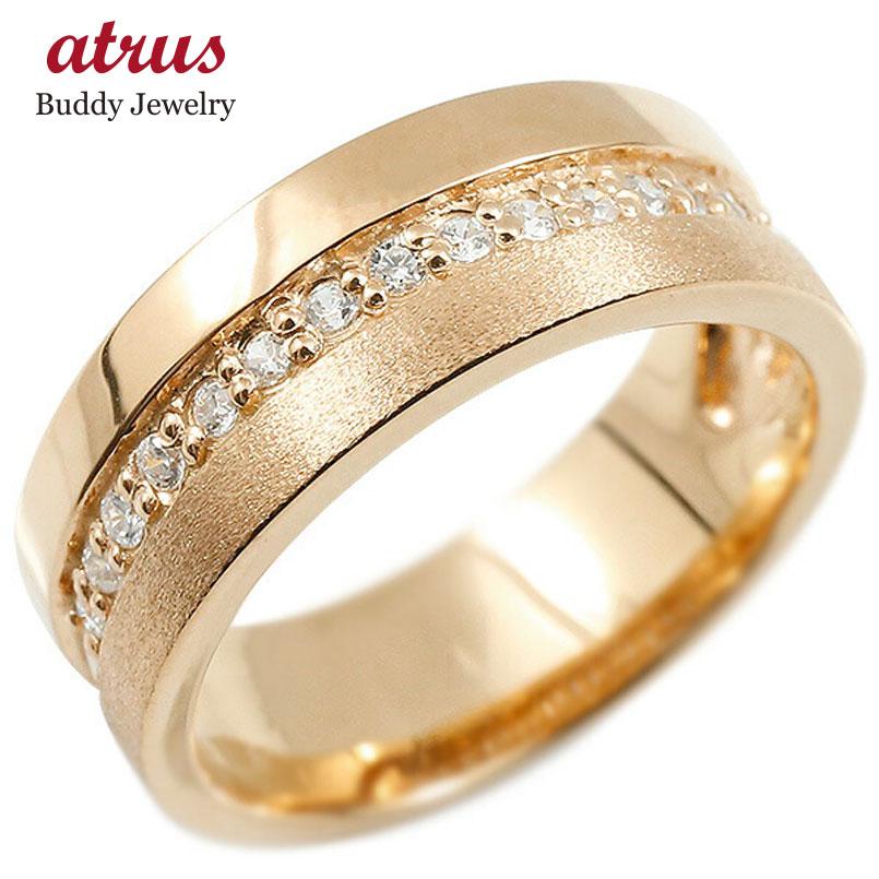 婚約指輪 リング ピンクゴールドk18 ダイヤモンド エンゲージリング ダイヤ 指輪 幅広 つや消し ピンキーリング 18金 宝石 レディース 妻 嫁 奥さん 女性 彼女 娘 母 祖母 パートナー