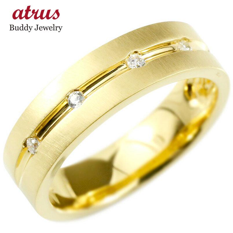 婚約指輪 リング イエローゴールドk10 キュービックジルコニア エンゲージリング 指輪 幅広 ホーニング加工 つや消し ピンキーリング 10金 宝石 レディース