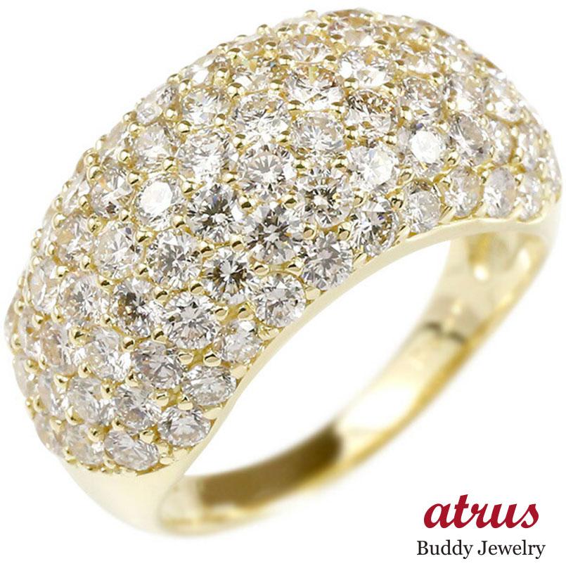パヴェ 婚約指輪 リング ダイヤモンド 3ct イエローゴールドk18 ピンキーリング ダイヤ 指輪 幅広 エンゲージリング 18金 宝石 レディース 妻 嫁 奥さん 女性 彼女 娘 母 祖母 パートナー