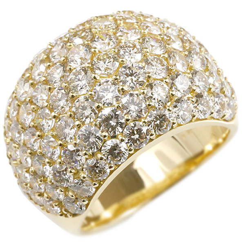 パヴェ 婚約指輪 リング ダイヤモンド 5ct イエローゴールドk18 ピンキーリング ダイヤ 指輪 幅広 エンゲージリング 18金 宝石 レディース 妻 嫁 奥さん 女性 彼女 娘 母 祖母 パートナー