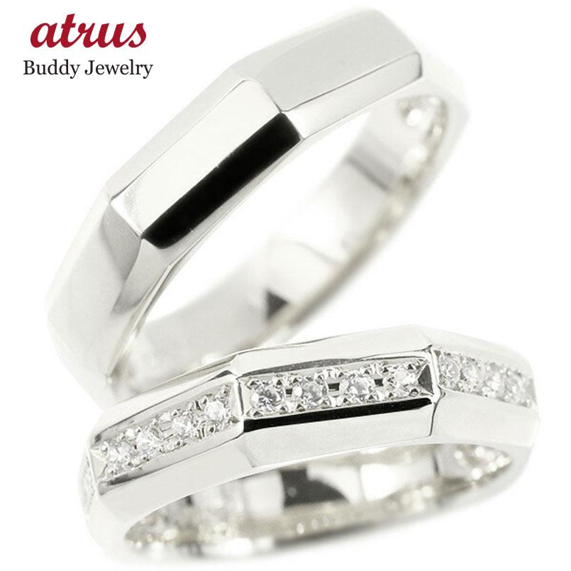 ペアリング 結婚指輪 ホワイトゴールドk10 ダイヤモンド 指輪 10金 ダイヤ シンプル マリッジリング リング カップル 2本セット 宝石 送料無料