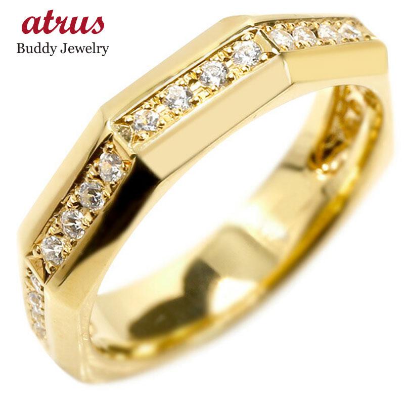 婚約指輪 リング イエローゴールドk18 ダイヤモンド エンゲージリング ダイヤ 指輪 ピンキーリング 18金 宝石 レディース 送料無料